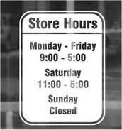 Working hours sign